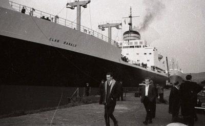 Cargo steamer Dockside scene