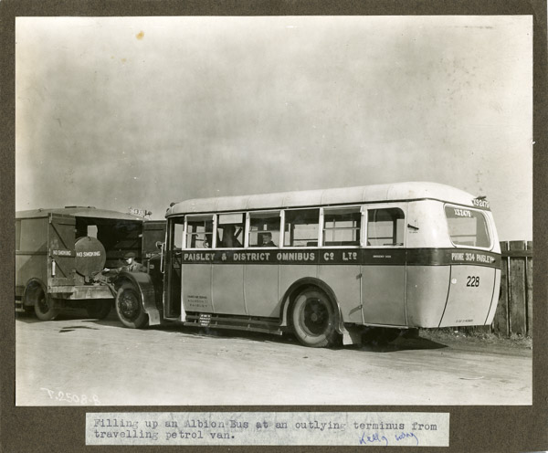 Albion Bus filled from petrol van