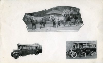 montage of coach and 2 buses Montage - Horsedrawn coach and 2 buses