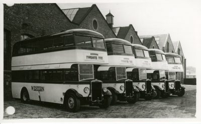 Double decker Five Leyland buses