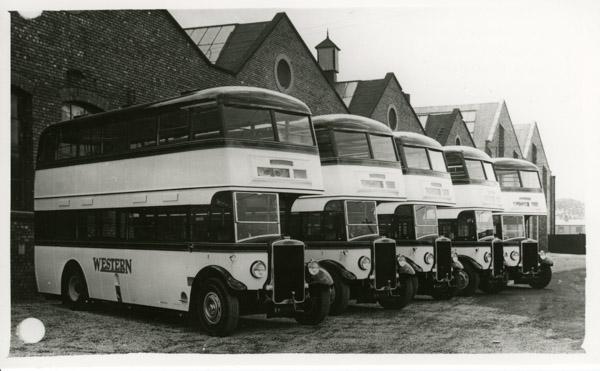 Double decker Five Leyland buses
