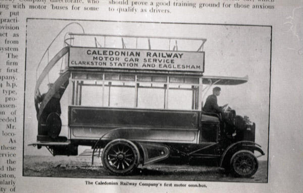 Double decker Caledonian Railways Motor Omnibus
